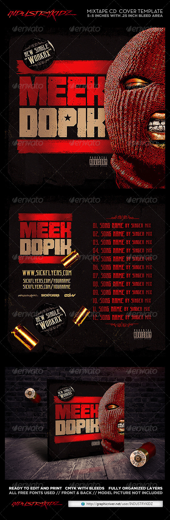 Mixtape Cover Template PSD Hip Hop - CD & DVD Artwork Print Templates