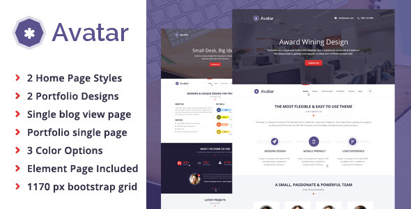 Avatar - Corporate & Freelancer One Page PSD