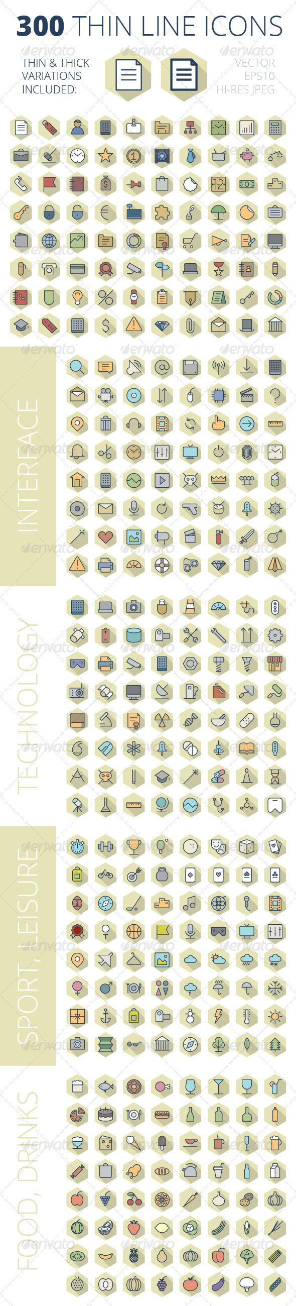 GraphicRiver Thin Line Icons For Business Technology and Leisure 8093113