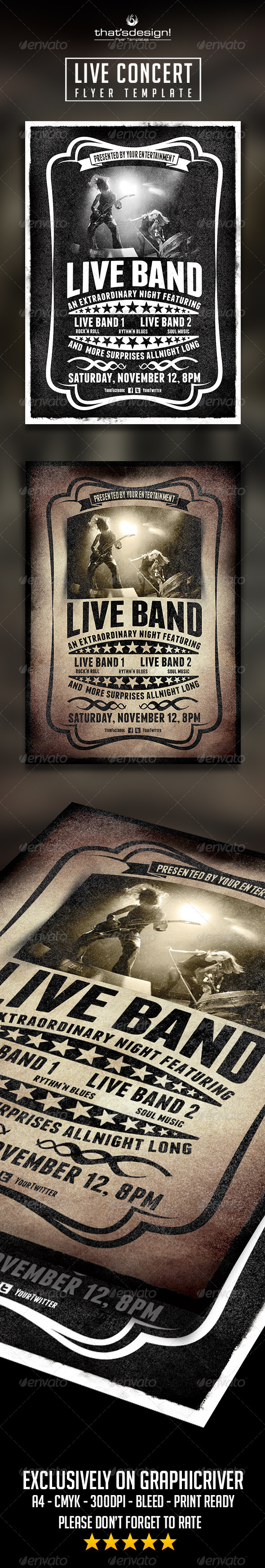 Live Concert  Flyer Templates 2x1 - Concerts Events