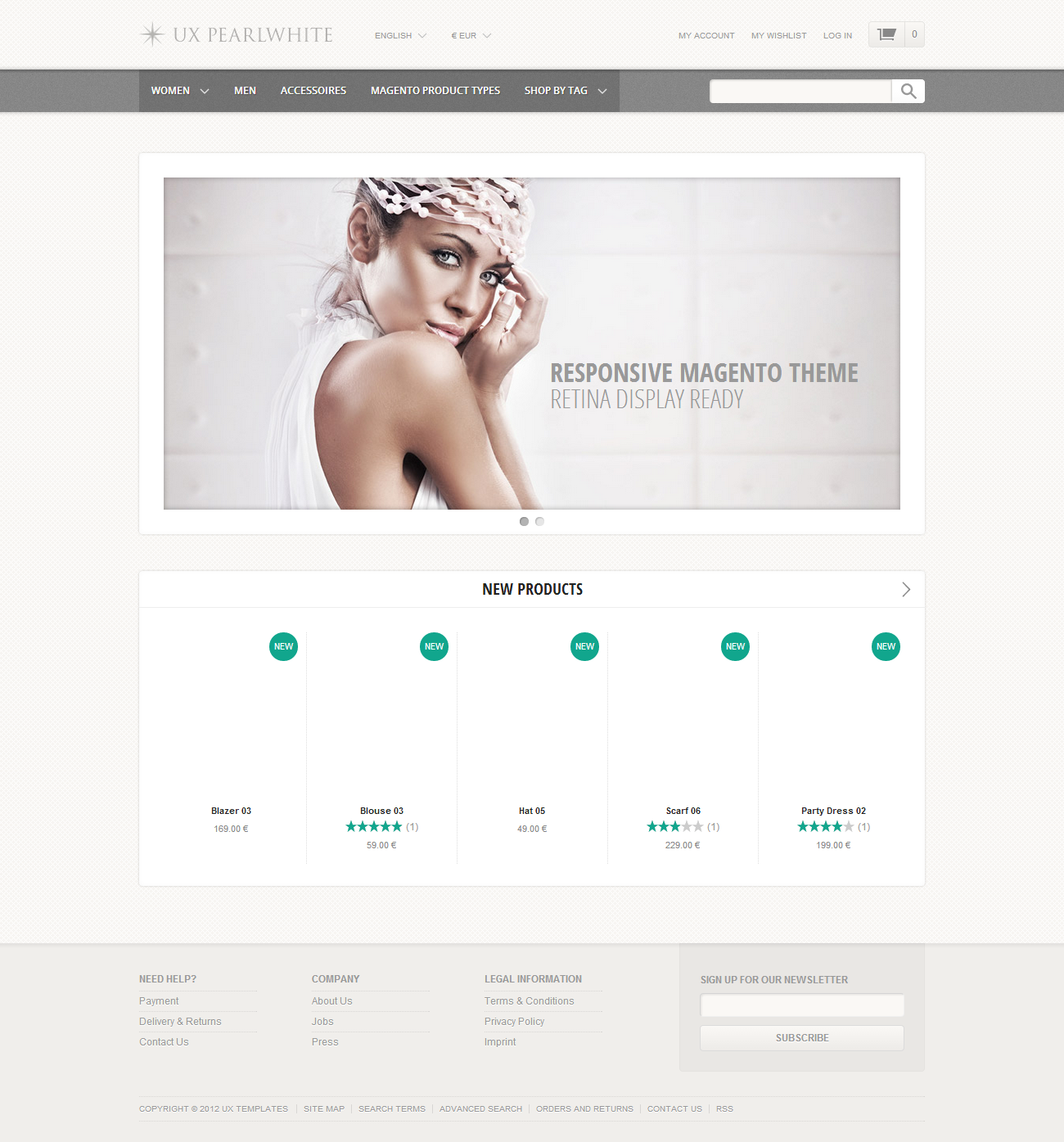 UX Pearlwhite   Fast Responsive Magento Theme