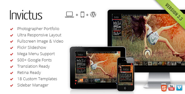 Invictus - Fullscreen Background Portfolio Theme