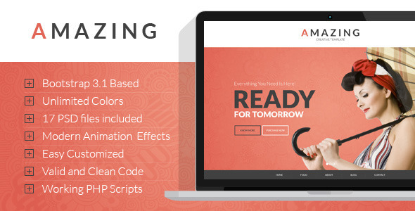 Amazing - Onepage&Multipage Parallax HTML Template - Creative Site Templates