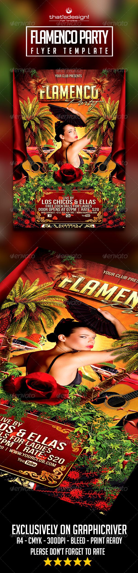 Flamenco Party Flyer - Clubs & Parties Events