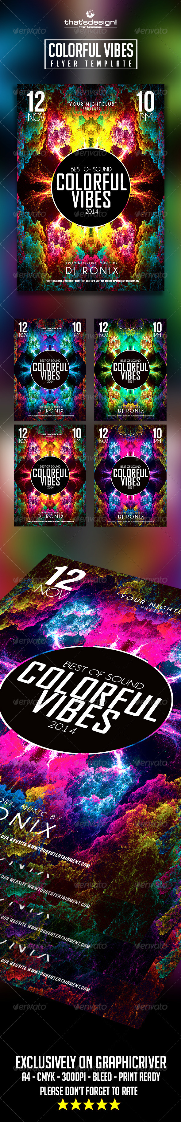 Colorful Vibes Flyer Template - Clubs & Parties Events