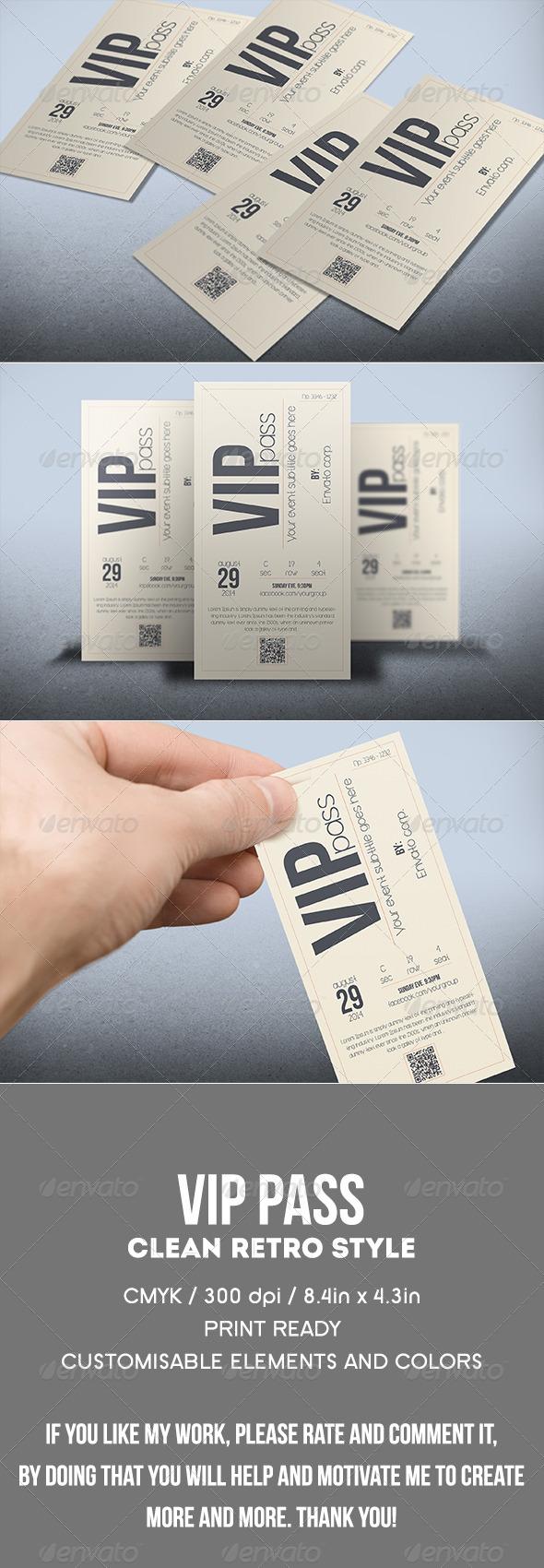GraphicRiver Multipurpose retro VIP PASS 8088054