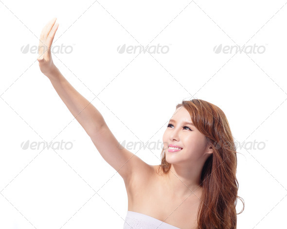 UV care and Beautiful woman face - Stock Photo - Images