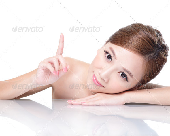 beauty woman face with mirror reflection - Stock Photo - Images