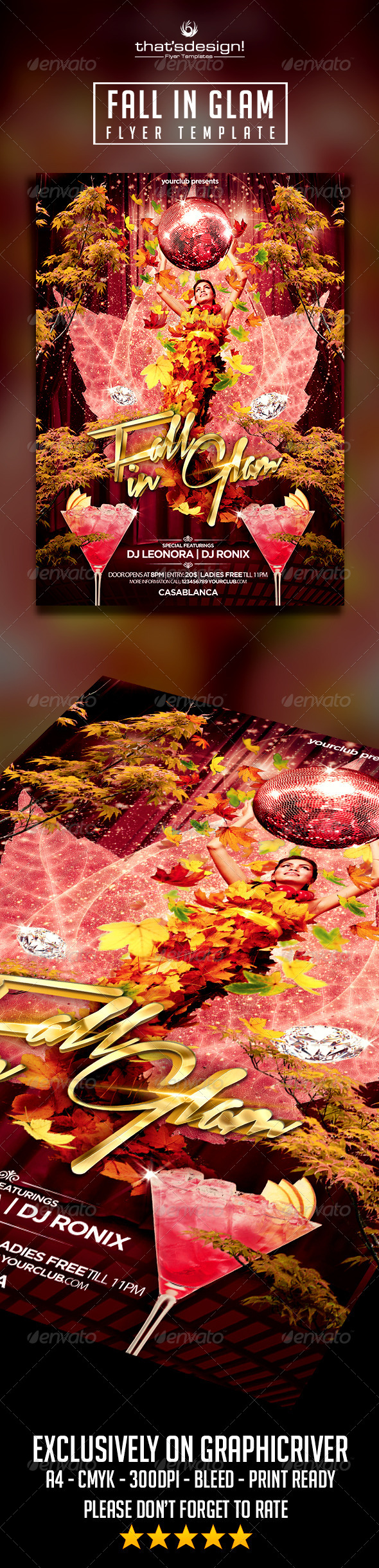 Fall In Glam Party Flyer - Print Templates