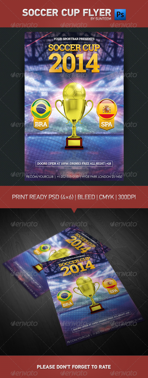 GraphicRiver Brazil Soccer Flyer Template 8064378
