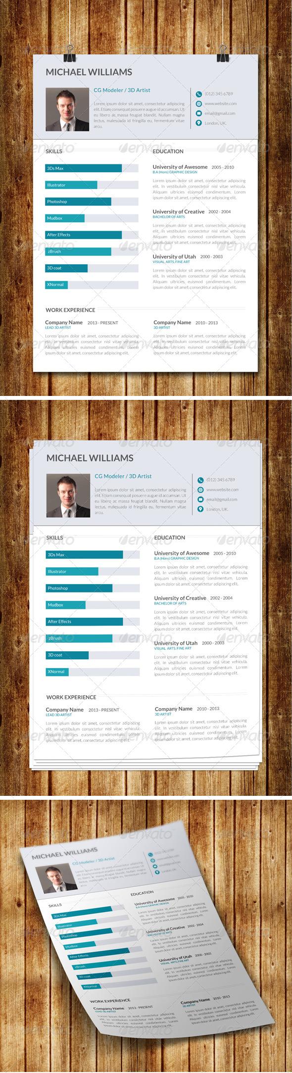 GraphicRiver Clean Modern Resume V8 8098613
