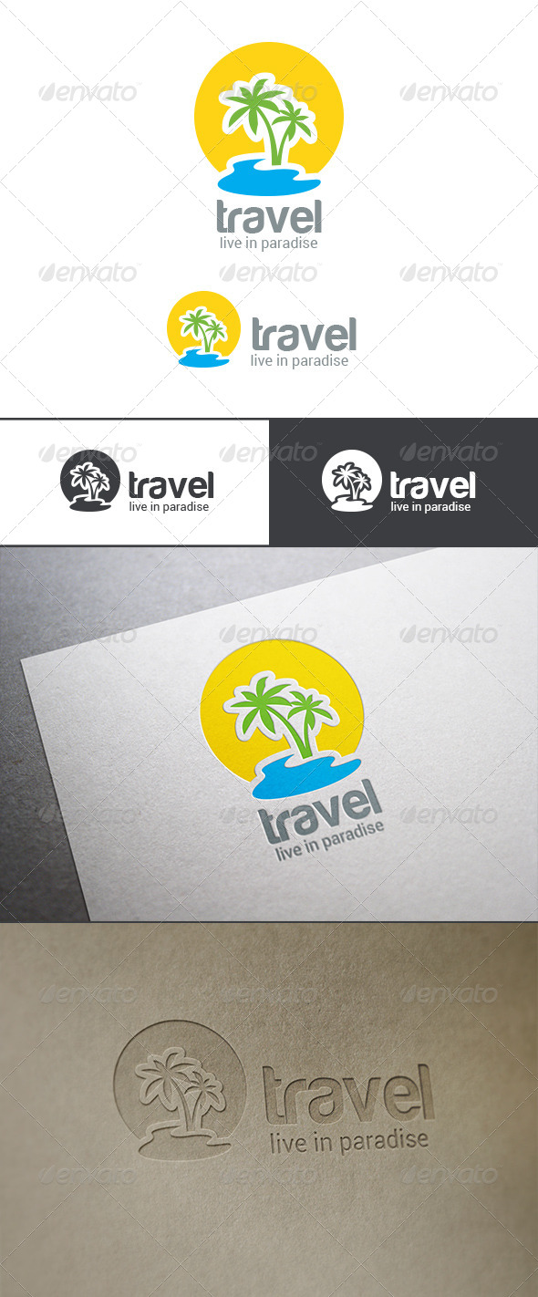 GraphicRiver Logo Travel Palm Island 8098773
