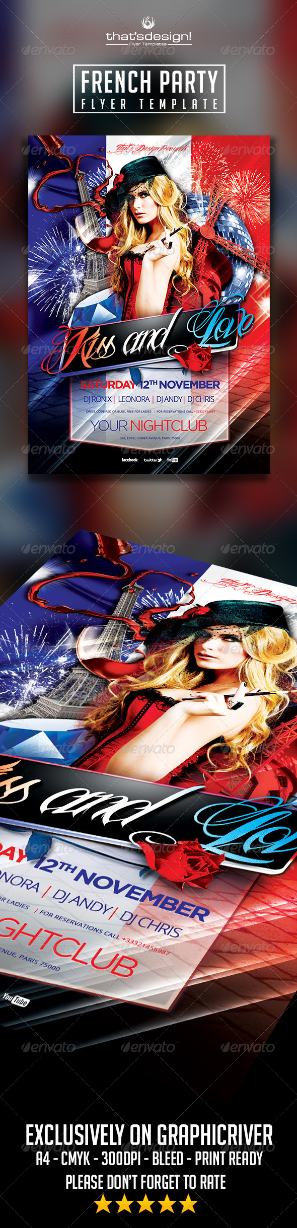 French Party Flyer Template - Clubs & Parties Events