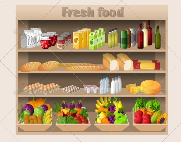GraphicRiver Supermarket Shelves Food and Drinks 8099494
