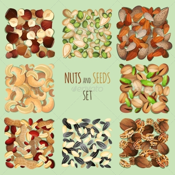 GraphicRiver Nuts and Seeds Set 8099505