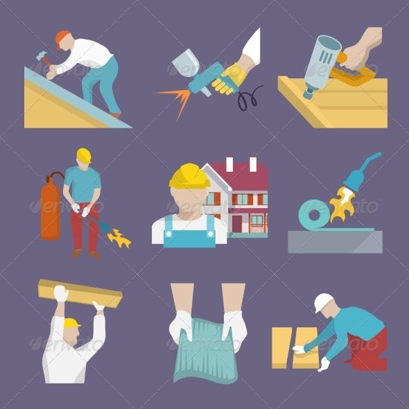 GraphicRiver Roofer Icons Flat 8099531