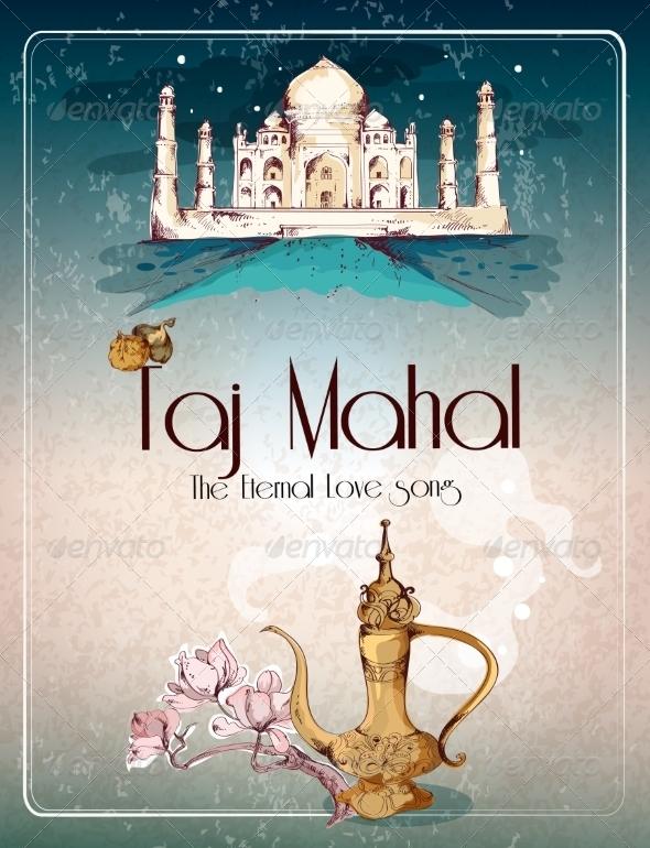 GraphicRiver Taj Mahal Retro Poster 8099563