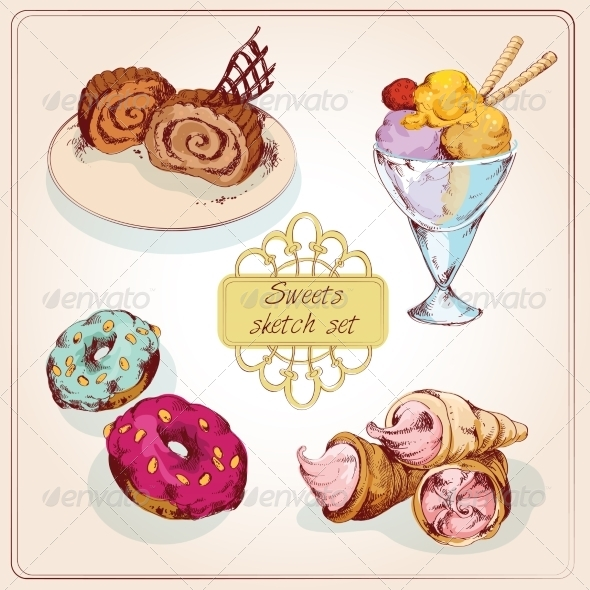 GraphicRiver Sweets Sketch Colored Set 8099575