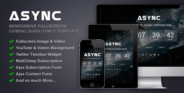 Async - Responsive Fullscreen Coming Soon Template - Under Construction Specialty Pages