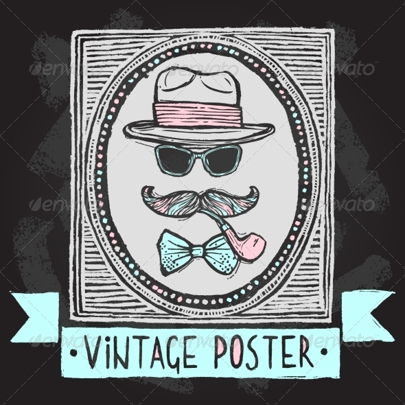 GraphicRiver Vintage Hat and Glasses Poster 8099653