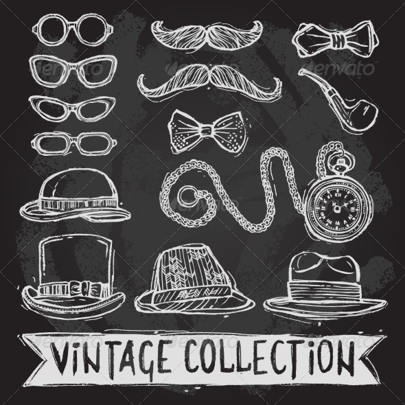 GraphicRiver Vintage Hats and Glasses Set 8099654