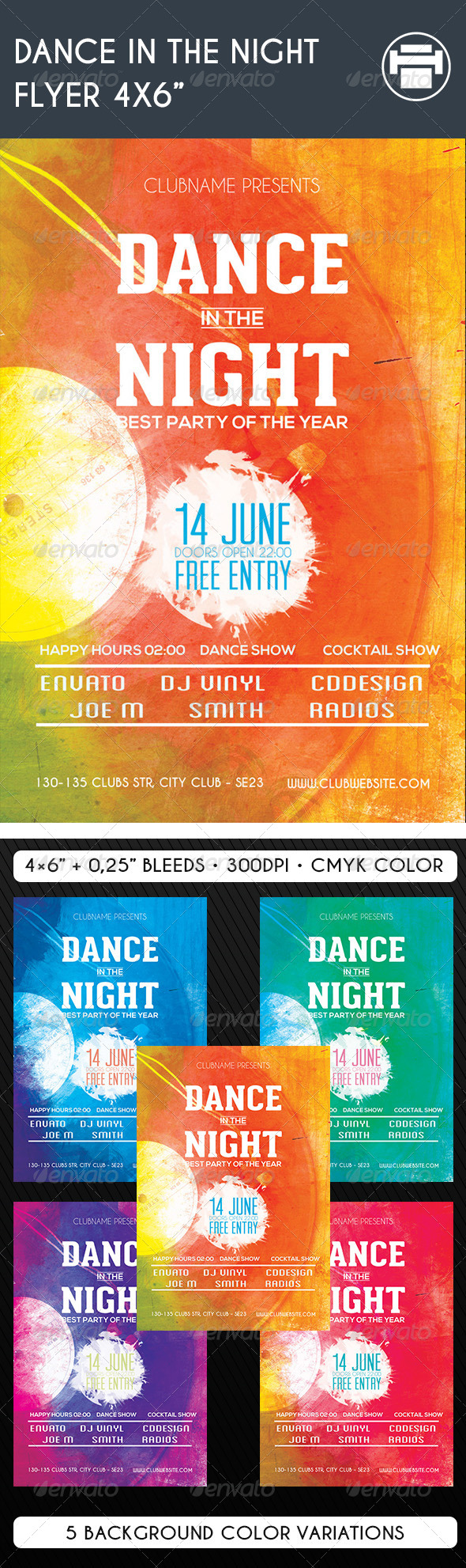 GraphicRiver Dance in the Night Flyer 4x6 8099666