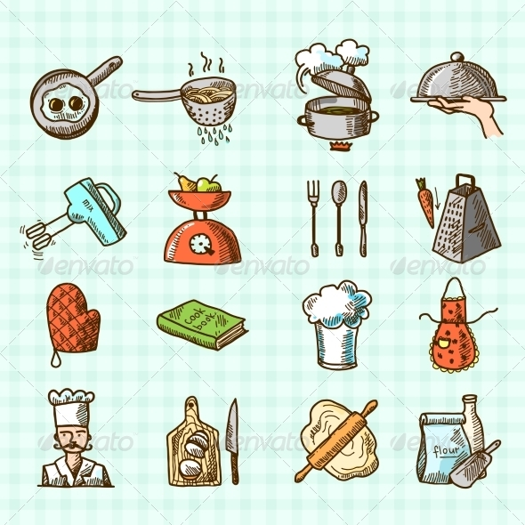 GraphicRiver Cooking Icons Sketch 8099693
