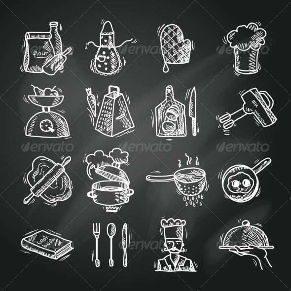 GraphicRiver Cooking Icons Sketch 8099695
