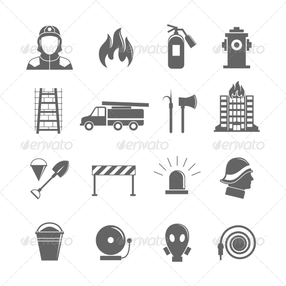 GraphicRiver Firefighting Icons Set 8099768