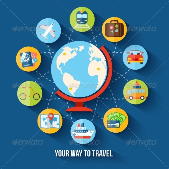 GraphicRiver Travel Flat Concept 8099780