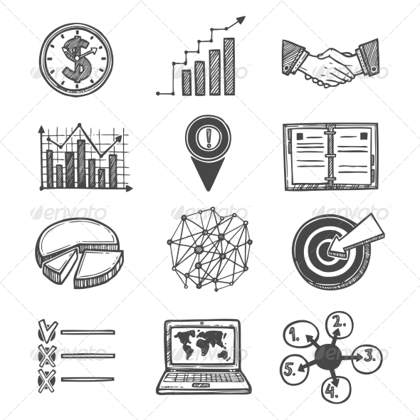 GraphicRiver Sketch Strategy and Management Icons 8099787