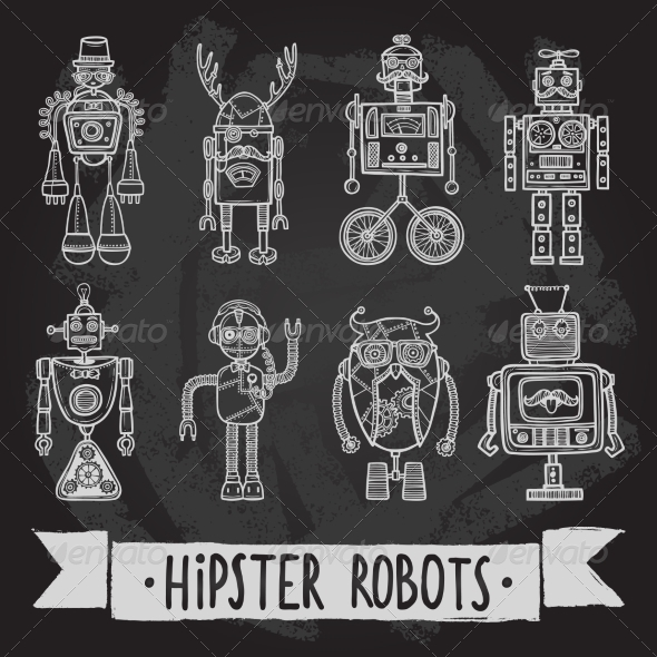 GraphicRiver Hipster Robot Set 8099802