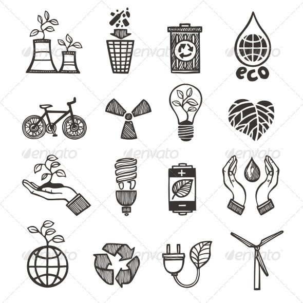 GraphicRiver Ecology and Waste Icons Set 8099805