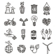 Ecology and Waste Icons Set - GraphicRiver Item for Sale