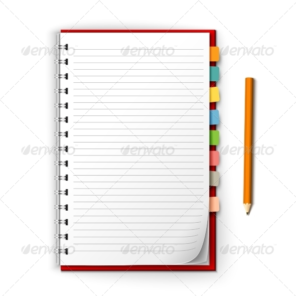 GraphicRiver Notepad with Reminders and Pencil 8099811