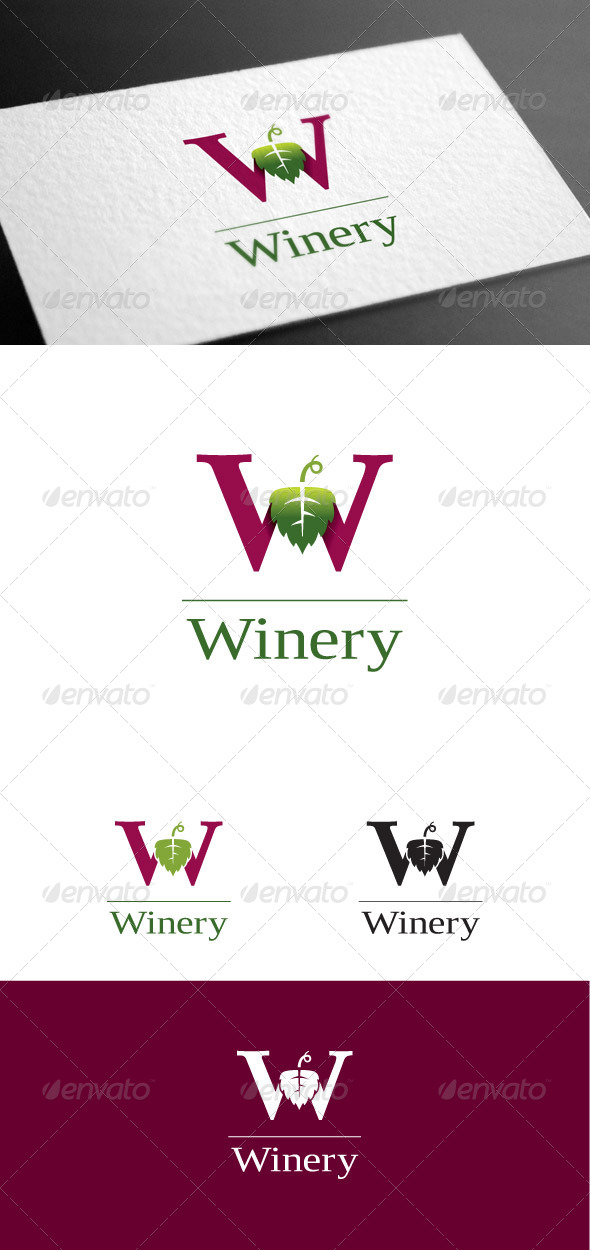 GraphicRiver Winery W Letter Logo Template 8099836