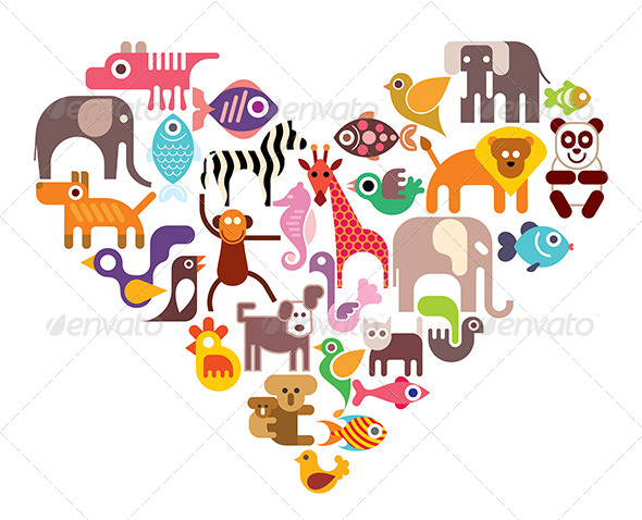 GraphicRiver Heart with Animals 8099887
