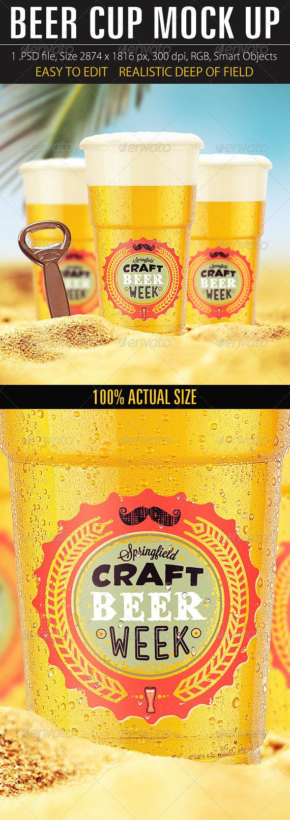 Beer Cup Mock Up - Food and Drink Packaging