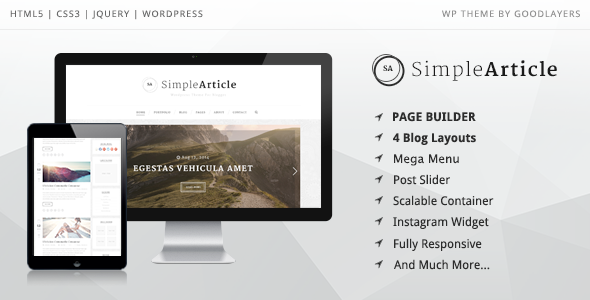 Simple Article - WordPress Theme For Personal Blog - Personal Blog / Magazine