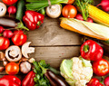 Healthy Organic Vegetables on a Wooden Background - PhotoDune Item for Sale