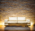 Modern style interior design. Leather beige sofa - PhotoDune Item for Sale