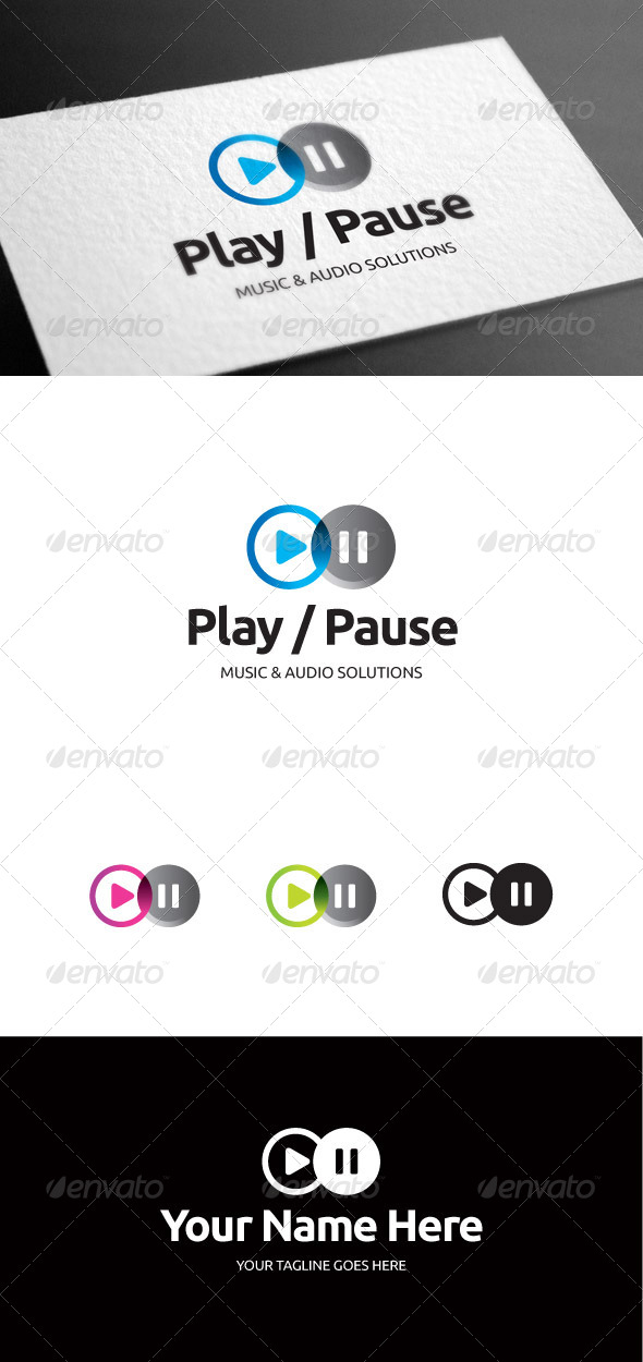 Play Pause Logo Template