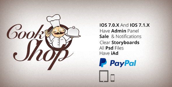 CodeCanyon CookShop iPhone & iPad App With PayPal 8100685