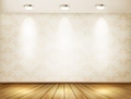 Wall with spotlights and wooden floor. Showroom concept. - PhotoDune Item for Sale