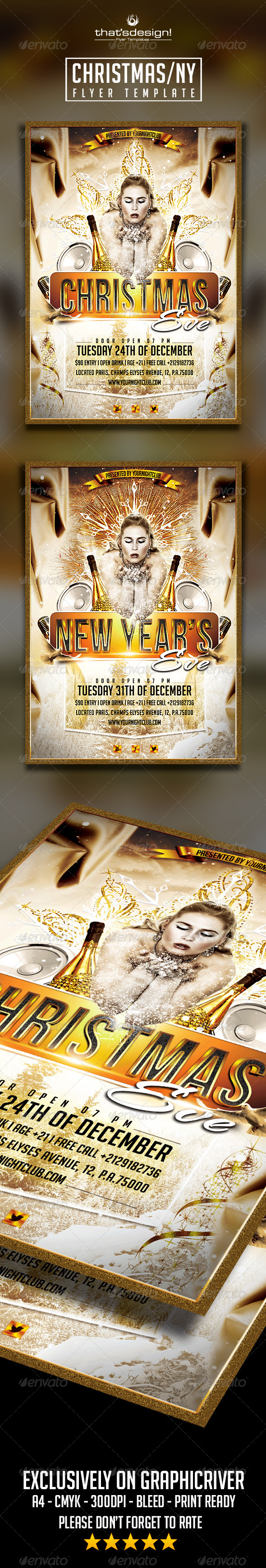 New Year's / Christmas Eve Flyers - Holidays Events