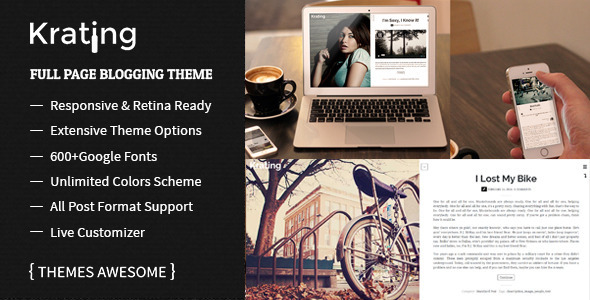 Krating - Full Page Blogging Themes - Personal Blog / Magazine