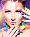 Fashion beauty model girl with colorful nails - PhotoDune Item for Sale
