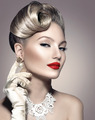 Beauty retro woman with perfect makeup and hairstyle - PhotoDune Item for Sale