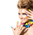 Beauty girl with colorful makeup, nail polish and accessories - PhotoDune Item for Sale