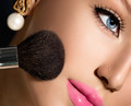 Make-up Applying closeup. Cosmetic Powder Brush for Makeup - PhotoDune Item for Sale